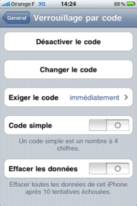 code de dévérouillage